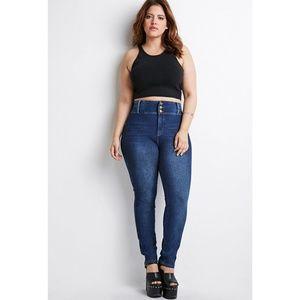 High Waist 3 Button Skinny Jeans